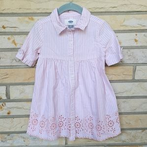 OLD NAVY pink embroidered button front shirt dress